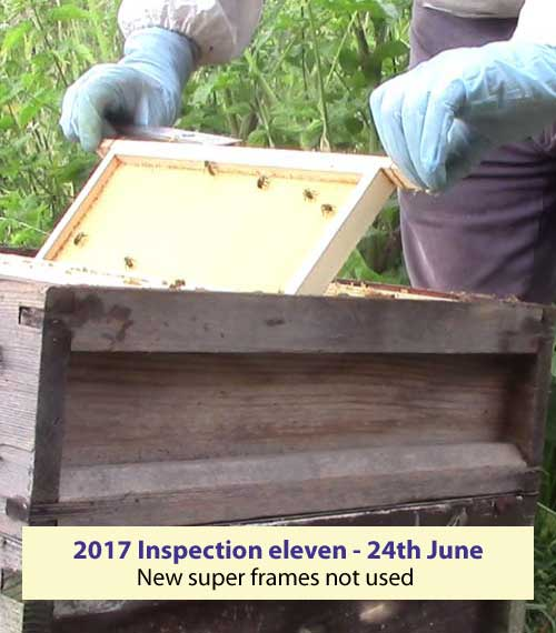 Inspection eleven supers not used